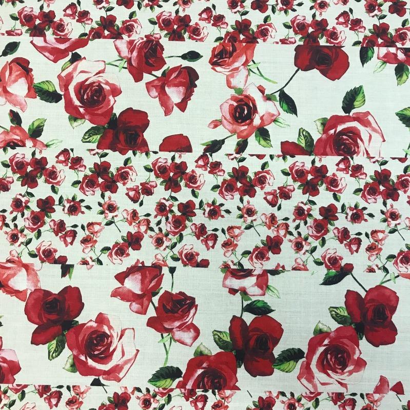 Printed Wool Roses