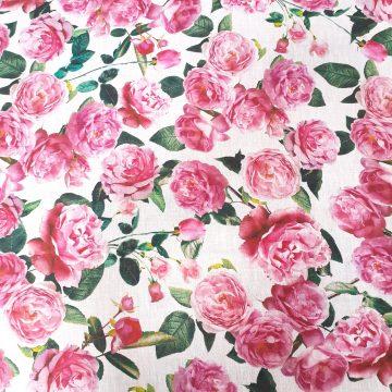 Italian Linen Pink Roses