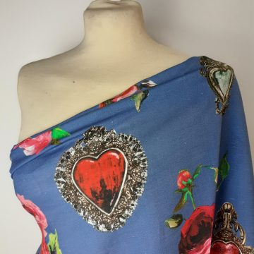 Italian Linen Hearts and Roses Blue