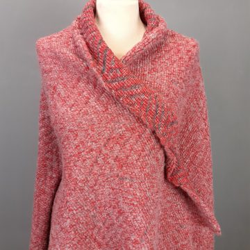 Red Italian Wool & Rayon Knitted Open Weave