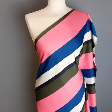 LAST CHANCE TO BUY 2.5m for £8 Striped Polyester Crepe