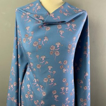 Italian Soft Silky Rayon Blue with Pink Flowers