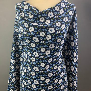 Navy and White Flower Rayon