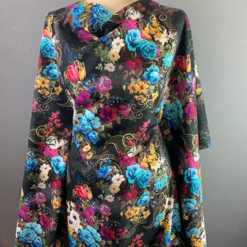 Blue and Pink Fine Lawn Jacquard