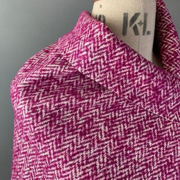 Italian Magenta Herringbone Wool