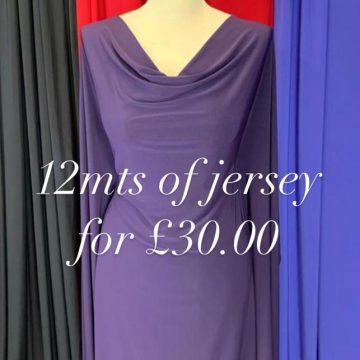 Plain Jersey Bundle 12mts Total – 3mts each of Purple, Blue, Red, and Black – for just £30