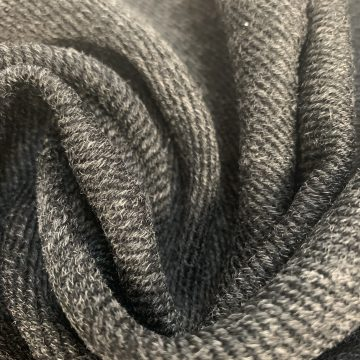 Charcoal Grey Diagonal Weave Marl Wool