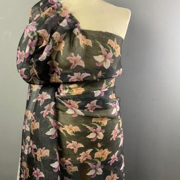 Italian Silk and Linen Black and Pinks
