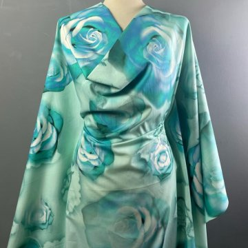 Roses Pure Cotton Turquoise