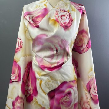 Roses Pure Cotton Pink and Cream